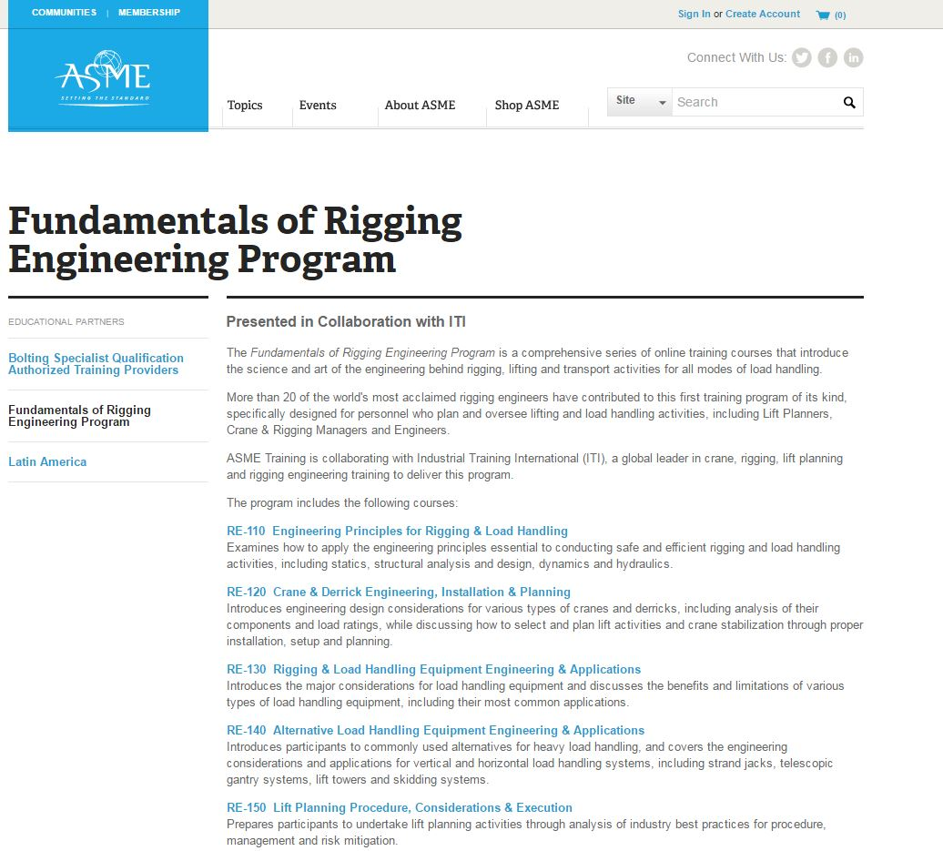 ASME Offers Rigging Engineering Training through ASME.org